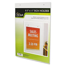 Nu-Dell Clear Plastic Sign Holder, Wall Mount -  8 1/2 x 11