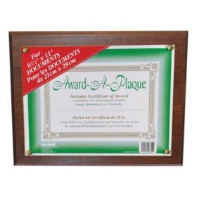 Nu-Dell Award-A-Plaque Document Holder, Acrylic/Plastic, 10-1/2 x 13, Walnut