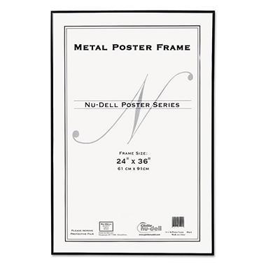 NuDell Metal Poster Frame, Plastic Face, 24 x 36, Black - Sam\'s Club