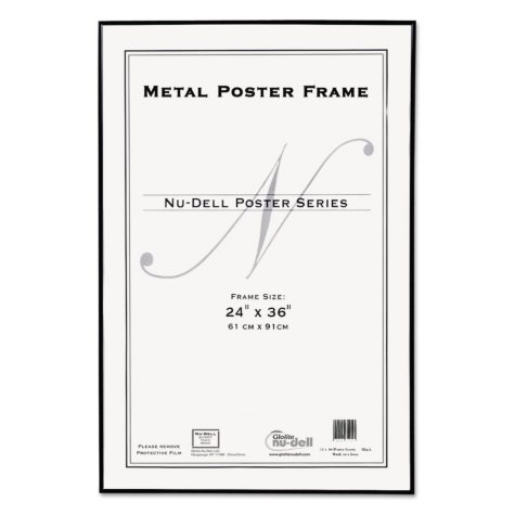 NuDell Metal Poster Frame, Plastic Face, 24 x 36, Black