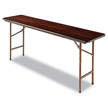 "Alera Wood Rectangular Folding Table, 72""W x 18""D x 29""H, Mahogany"
