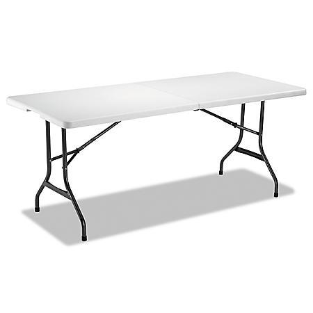 """Alera 71"""" Fold-in-Half Resin Folding Table, White"""