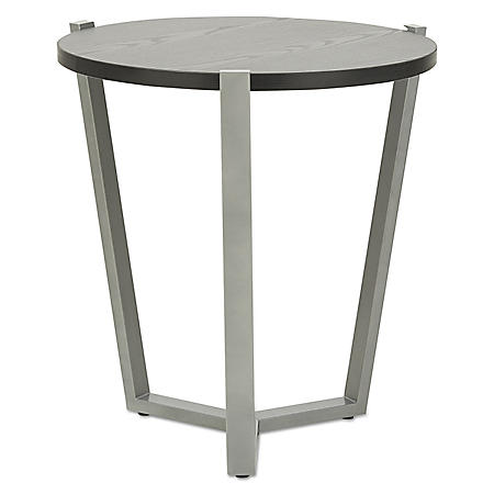 Alera Round Occasional Corner Table, Black/Silver