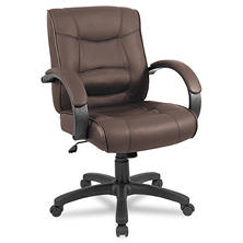 Alera Strada Series Mid-Back Leather Swivel/Tilt Chair, Select Color