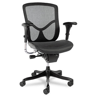 Alera EQ Series Ergonomic Multi-function Mid-Back Mesh Chair, Black (Select Base Color