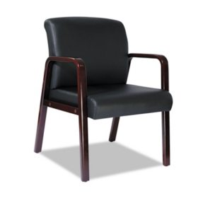 Alera Reception Lounge Series Leather Guest Chair, Mahogany/Black