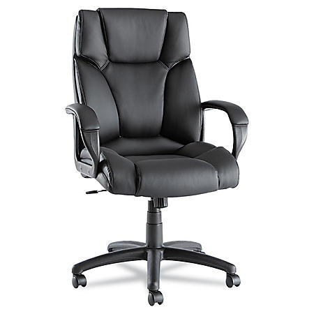 Alera Fraze High-Back Leather Swivel/Tilt Chair, Black