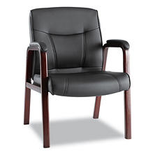 Alera Madaris Leather Guest Chair With Wood Trim Black Mahogany