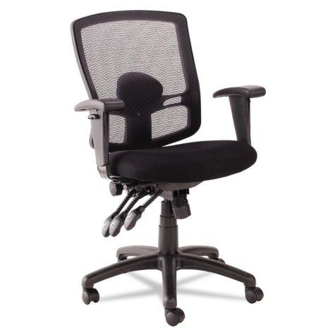 Alera Etros Series Petite Mid-Back Multifunction Mesh Chair, Black