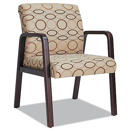 Alera Reception Lounge Series Fabric Guest Chair, Mahogany/Tan