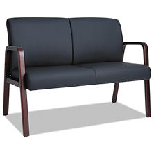 "Alera Reception Lounge Series 44 7/8"" Wood Loveseat, Black/Mahogany"
