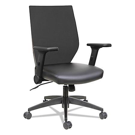 Alera EB-T Series Syncho Mid-Back Flip-Arm Chair, Black
