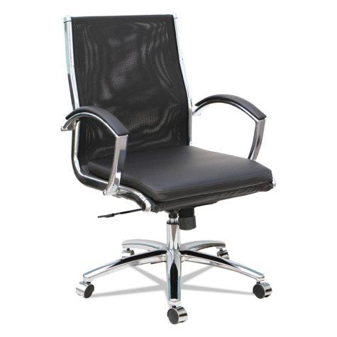 Alera Neratoli Mid-Back Slim Profile Chair, Black, Leather/Mesh
