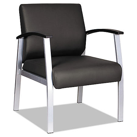 "Alera MetaLounge Series Mid-Back Guest Chair, 25"" x 25.59"" x 33.66"" (Black Seat/Black Back, Silver Base)"