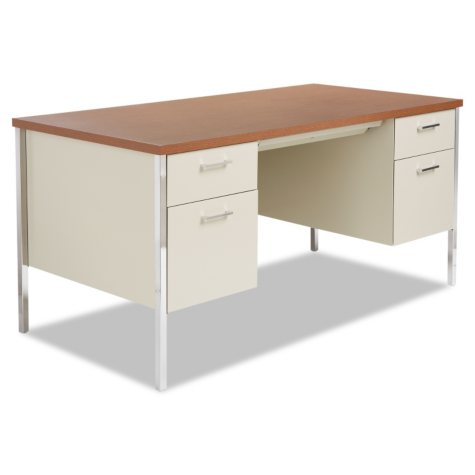 "Alera 60"" Double Pedestal Metal Desk, Select Color"