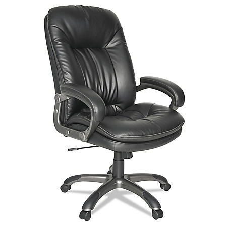 OIF Executive Swivel/Tilt Leather High-Back Chair, Supports up to 250 lbs. (Black)
