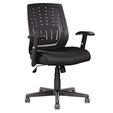 Alera Eikon Series Mesh Manager's Synchro-Tilt Mid-Back Chair - Black