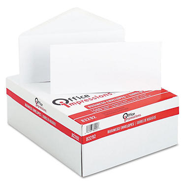 Office Impressions - White Envelopes, #10, Gummed - 500 Count
