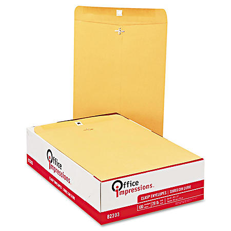 Office Impressions - Clasp Envelopes, 10 x 13, Brown Kraft - 100 Count