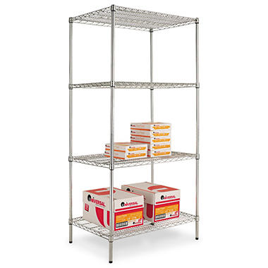 Alera 4-Level Wire Shelving Unit - Silver (36