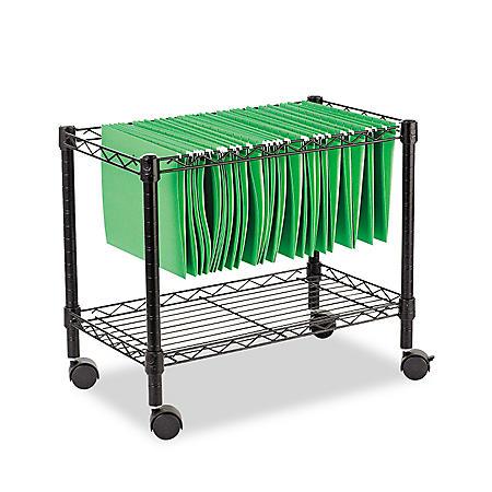 "Alera 24"" Single-Tier Rolling File Cart, Black"
