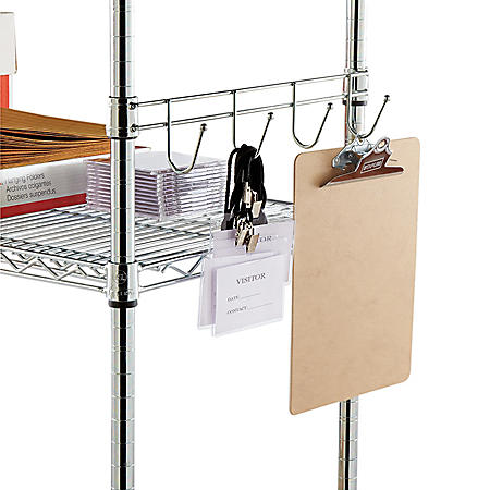 "Alera 18"" Hook Bars For Wire Shelving, Silver - 2 pack"