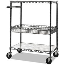 "Alera 40"" 3-Tier Wire Rolling Cart, Black Anthracite"