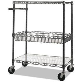 "Alera 40"" 3-Tier Wire Rolling Cart, Black Anthracite"