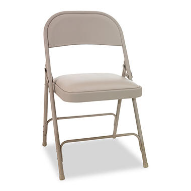 Alera Steel Folding Chair with Padded Seat, Tan - 4 Pack