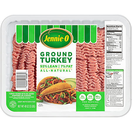 Jennie-O Lean Ground Turkey, 93% Lean (2.5 lb. per tray, 2 trays.)