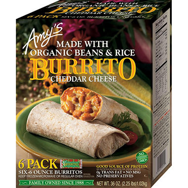 Amy\'s Kitchen Bean & Rice Burrito (36 oz., 6 pk.) - Sam\'s Club