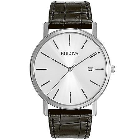 Bulova Men's Black Leather Strap Watch