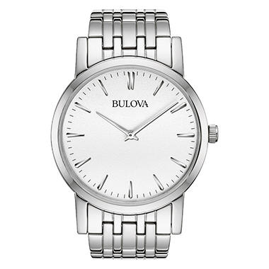 Bulova Men's 96A115 Silver-Tone White Dial Watch