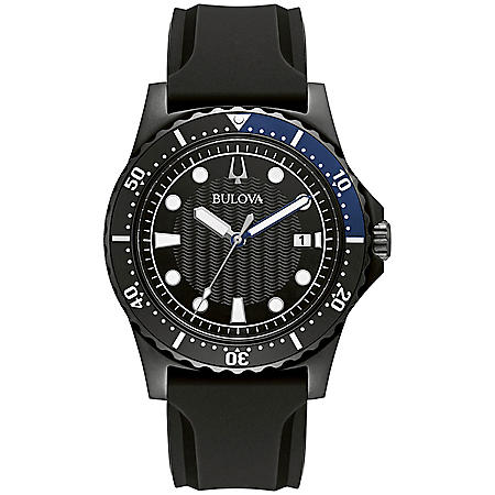Bulova Men's Black Strap Marine Star Watch
