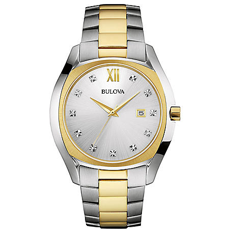 Men's Bulova Diamond Accent Two-Tone Watch with Silver Dial