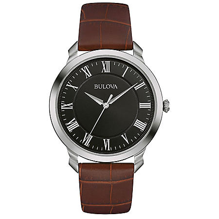 Bulova Men's Quartz Stainless Steel and Brown Leather Dress Watch