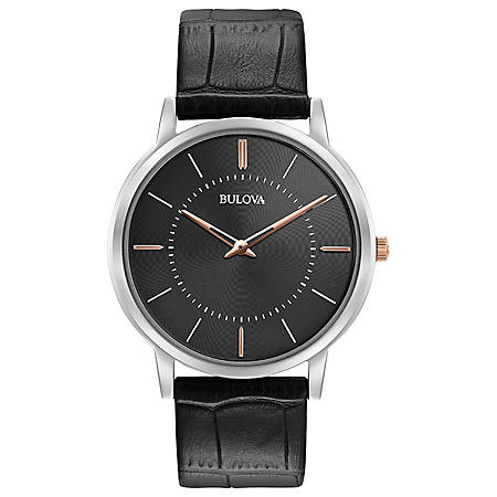 Bulova Men's Classic Ultra Slim Watch with Black Leather Strap