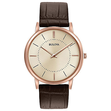Bulova Men's Classic Ultra Slim Watch with Brown Leather Strap