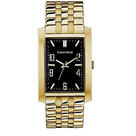 Caravelle Men's Rectangular Goldtone Bracelet Dress Watch