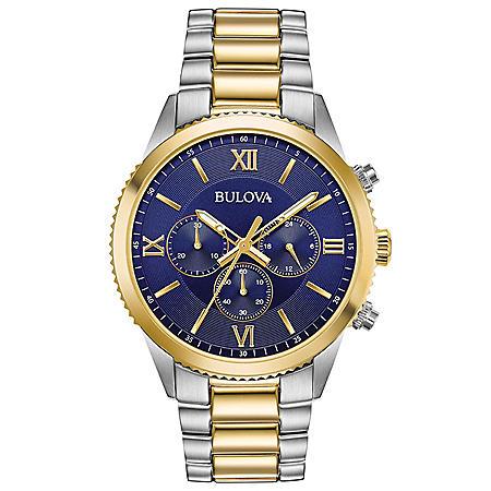 Bulova Men's Two-Tone Chronograph Watch, Blue Dial