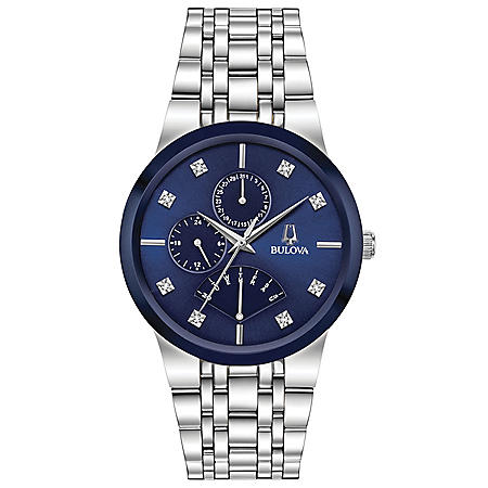 Bulova Men's Stainless Steel Watch, Blue Multi-Function Dial