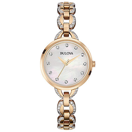 Bulova Women's 98L207 Rose Goldtone Facets Watch with Mother-of-Pearl Dial