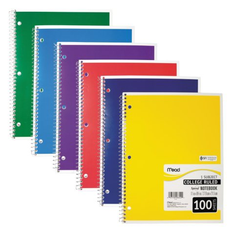 Mead Spiral Bound Notebook, College Rule 8 1/2 x 11, 100 sheets, Assorted Colors (Color Choice Not Available)