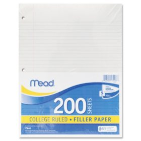 Mead - Economical 16-lb. Filler Paper, College Ruled, 11 x 8-1/2, White -  200 Shts/Pk
