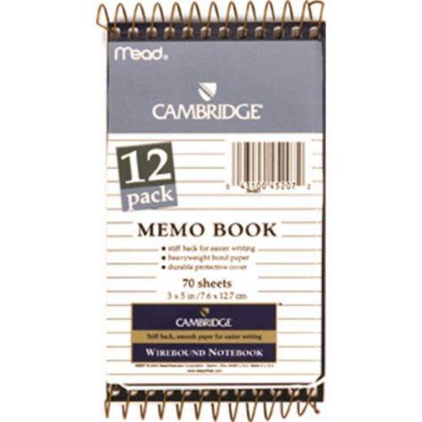 "Cambridge Wire Bound Memo Book Navy 3"" x 5"", 12 Pack"