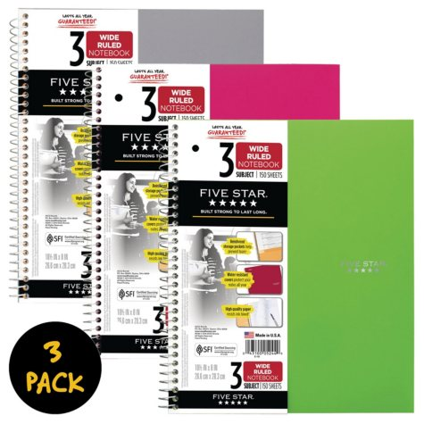 "Five Star® Trend Wirebound Notebook, 3 Subject, Wide Ruled, 10 1/2"" x 8"", 3 Pack, Assorted Colors (Color Choice Not Available)"