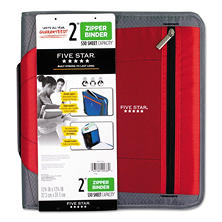 "Five Star Zipper Binder, 11 x 8 1/2, 2"" Capacity, Red"