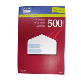 Columbian Poly-Klear White Double Window Envelopes, No. 9, 500 Count