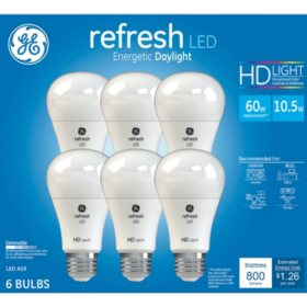 GE 60W Equivalent Daylight (5,000K) High Definition A19 Dimmable LED Light Bulb (6-Pack)