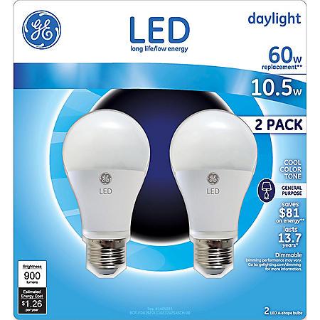 GE 10.5 Watt LED Daylight General Use Bulb (2-pack)